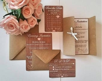 Rustic Shabby Chic Theme Wedding Stationery, Save the Date Cards, Personalised With Envelopes Included