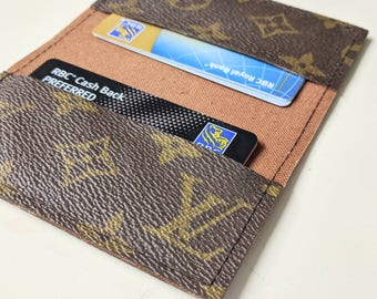 LV business card holder - Repurposed Louis Vuitton small wallet - Upcycled Louis Vuitton wallet - LV cards holder - Upcycled LV small wallet