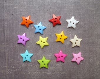 40 buttons shaped stars mix colors 1.8 cm