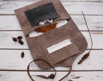 Smokers pouch - tobacco pouch - leather/suede tobacco pouch - beige/grey
