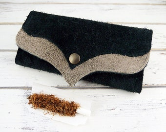 Roll Up Tobacco Pouch, Leather Tobacco Pouch, Rolling Tobacco Holder, Cigarette Case Holder