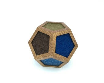 Needle Felted Wooden Dodecahedron, Dodecahedron Geometry , Golden Ratio Geometry , Sacred Geometry , Platonic Solid , Modern sculpture, Wool