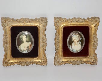 Framed cameo art,Lady Dower,Mrs. Chaplin,victorian decor,ornate gold frame,velvet matte,7x6,wall decor,framed victorian lady,set of 2,