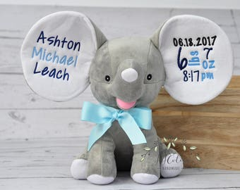 Personalized Cubbies Dumble Elephant-Personalized Birth Stat Elephant Baby Boy Gray Cubby Stuffed Animal- Personalized Elephant Plush Toy