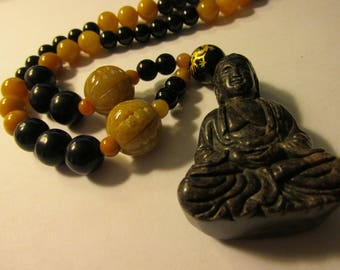 Carved Brown Jade Buddha Pendant with Yellow Jade and Black Agate Bead Necklace, 20""