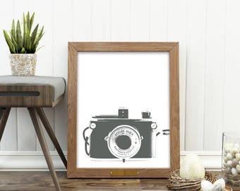 Delicieux Photography Decor, Camera Print, Gray Nursery Wall Art, Camera  Illustration, Digital File