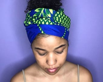 Blue and Lime Green Kuchena Half Head Wrap