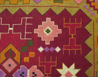 Antique European Silk Cross Stitch Textile - Free Shipping With UPS