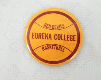 Eureka College Red Devils Basketball Pin Back Button  2 1/4 inches free ship in USA
