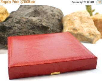 ON SALE Faux Snakeskin Necklace Gift Box, Red