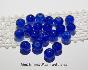 20 6mm blue cracked glass beads