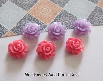 6 cabochons resin flowers 12mm base 10mm about Violet and Rose R27