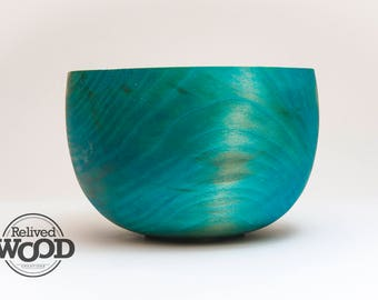 Handmade Wood Bowl – Teal Dyed – Blue Sycamore Bowl centerpiece accent piece decor gift 09091117