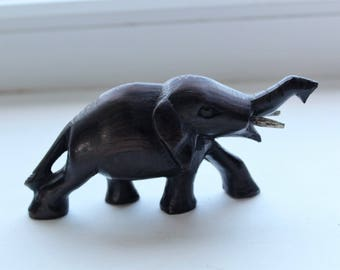 Small Carved Wood Elephant Figurine Figure Statue, Wooden African Elephant Home Decor