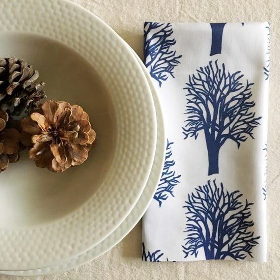FREE SHIPPING Organic cotton sateen dinner napkins, set of four, cherry trees in navy, christmas gift, navy decor, housewarming, table linen