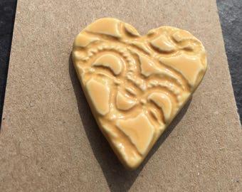 Ceramic brooch heart gift badge pin