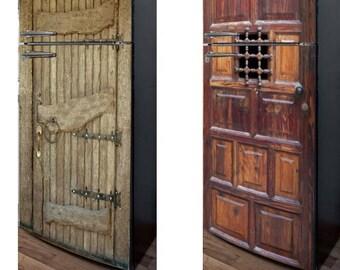 Fridge Vinyl Sticker **Old Wooden Door-I** and **Old Wooden Door-II**/ Self-Adhesive Vinyl Refrigerator Decal