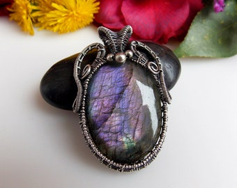 purple labradorite pendant, wire wrapped jewelry, handmade jewelry, wire wrap, wire weave, silver wrap, boho jewelry, Melissa Wood Jewelry