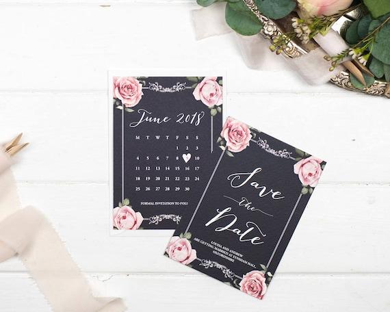 Vintage Save The Date Card - A6 Chalkboard Floral Framed
