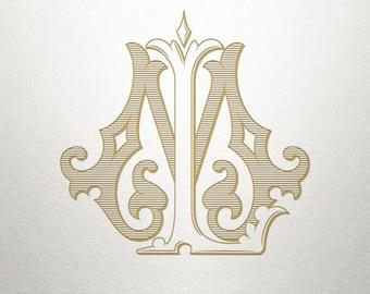 Interlocking Wedding Monogram - LM ML - Wedding Monogram - Vintage