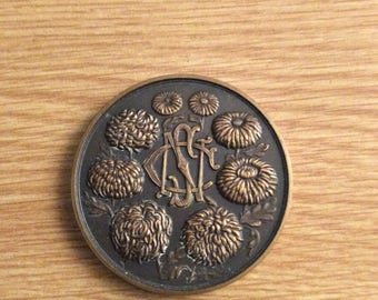 British Bronze National Chrysanthemum Society Medal dated 1959  This is a large medal 44.5mm in mint condition