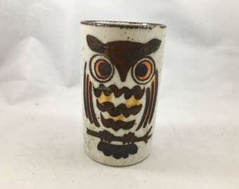 Vintage Stoneware Small Vase/Juice Glass With Brown and Orange Owl Painted On It