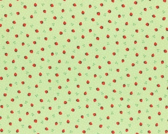 Sale Green Tiny Strawberries from the 1930's Collection by Lecien Fabrics