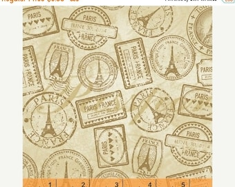 Sale Cream Vintage Paris Passport Stamp Cotton Fabric from the Destination Paris Collection by Whistler Studios for Windham Fabrics
