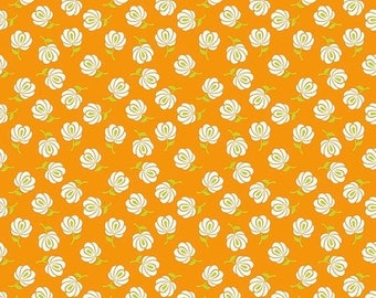 Sale Primavera Buds in Tangerine Cotton Fabric by Patty Young for Riley Blake