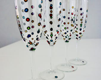 Spotty Champagne Flutes