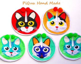 Meowing heads, cats SET of 6 feeding tube pads, PEG covers, Gtube pads, buttons G-tube mic-key button, podkładki pod PEG