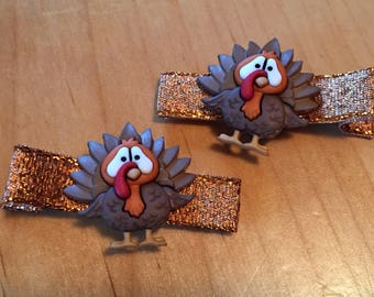 Hair clips - Thanksgiving, turkey - baby girl, child
