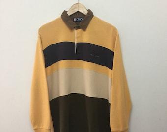 CHAPS RALPH LAUREN Polo Shirt/Vintage Chaps Ralph Lauren Striped Longsleeve Shirt/Light Orange/Dark Blue/Cream/Olive Green/Size L