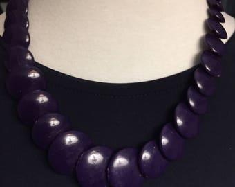 Vintage Flat Purple Beaded Necklace
