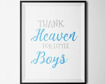 Thank Heaven For Little Boys Nursery Printable Little boys quote Boy Room Decor Star Nursery Art