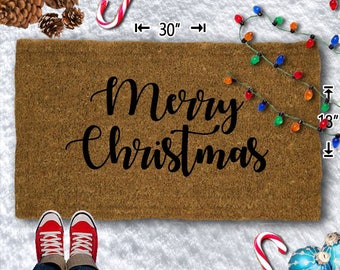 Merry Christmas Coir Doormat - 18x30 - Welcome Mat - House Warming - Mud Room - Gift - Custom