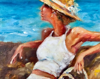 Original oil painting/woman with hat/ 9x12 inch//ocean scene//wall art/female//impressionist art