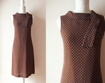 Japanese Vintage Dress / Vintage 1980's Dress / Ballsey Brown and Blue Dotted Sleeveless Pencil Dress with Tie Collar