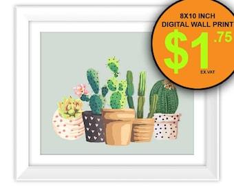 Cactus Art Print, Cactus Plant Garden Art Print, Instant Download, Home Decor, Garden Home Art Print Printable, Cacti, Succulent, Pot Plant