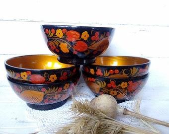 Vintage  Khokhloma salt bowl 5 Khokhloma  Folk art  Kitchen khokhloma painting Gift  for  collectibles made in USSR Folk style serving