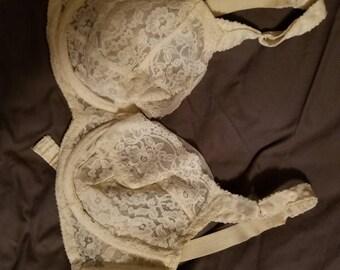 50s vintage white lace bra Bali-lo 34D