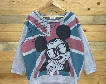 Rare! Vintage Mickey Mouse All Over Print Sweatshirt Size XL