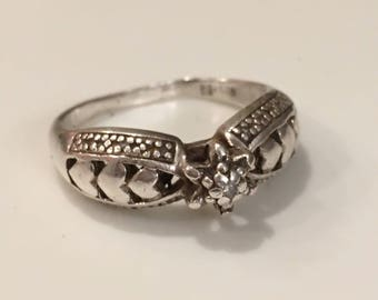 Sterling Silver Ring with Diamond Accent