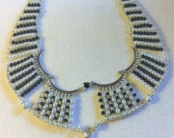 """The love in black and white bib"" necklace"