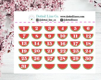 Watermelon Planner Date Cover | Watermelon Planner Stickers | Date Covers Erin Condren Happy Planner Recollections Planner Bujo and more!