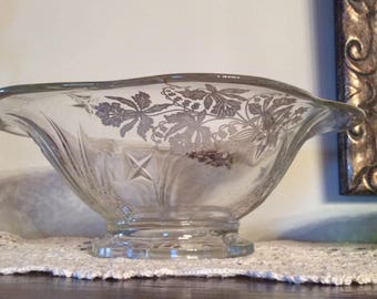 Antique 1930 Art Deco silver overlay dish salad bowl display collectible Iris pattern