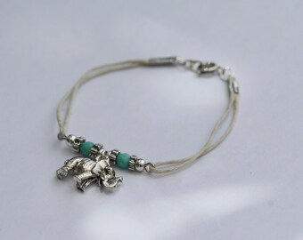 Natural hemp cord elephant bracelet