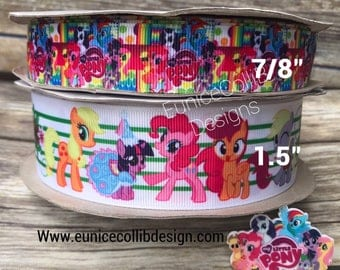 """1.5"""" and 7/8""""  pony grosgrain inspired ribbon"""