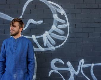 Linen shirt - linen mens shirt - Blue - jeans blue linen shirt - natural - softened - summer mens shirt - medium - small
