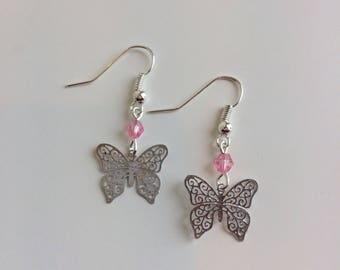 Butterflies and pink beads earrings